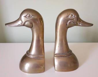 Brass Duck Bookends Vintage Solid Brass Bookends