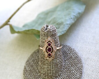 18K solid gold three ruby and diamond art deco ring
