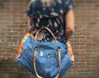 Levi's jeans sports bag overnight bag/big bag, sports bag, duffel bag, weekender bag, unisex bag, travel bag, gym bag, Duffle Bag, yoga bag