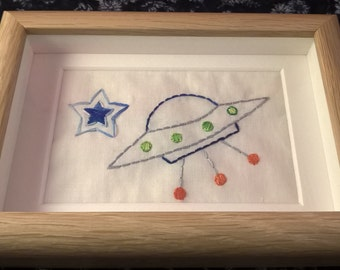 Spaceship hand embroidered framed picture