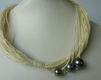 Bib Pearls linen Jewelry. Linen necklace