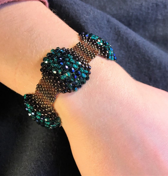 NO 133 Hand Beaded Crystal and Glass Bracelet