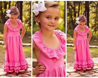 Girls Bubble Gum Pink Maxi Dress