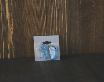 Blue Quartz  stone stud earrings