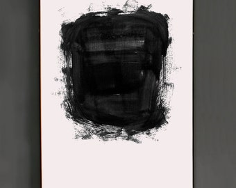 Simple Abstract Painting - Minimalist Painting - Expressionist Black and White Wall Art - digital printable product - home decor - B&W print