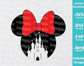 INSTANT DOWNLOAD SVG Disney Inspired Minnie Mouse Ears Castle for Cutting Machines Svg, Esp, Dxf and Jpeg Format Cricut Silhouette