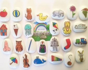 Reversible, Alphabet, ABC, Story Stones, Set Upper and Lower Case Letters, Early Literacy, Reading, Writing