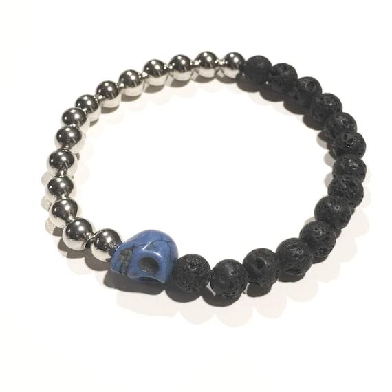 Blue skull | Platinum beads | Black lava beads | Stretchy bracelet | Bracelets | Halloween | Fall | Autumn | Dark | Glam | Half & Half | SKU