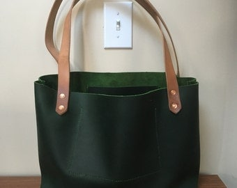 full grain leather tote bag