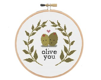 Olive You - I Love You Food Pun Cross Stitch Pattern
