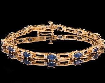 Vintage 14k Yellow Gold Sapphire Bracelet, Diamond bracelet , Gemstone