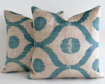 Handwoven Pillow, Ikat Velvet Pillow Cover - Green Velvet Pillow - boho ikat pillow - green velvet ikat cushion - green beige pillow