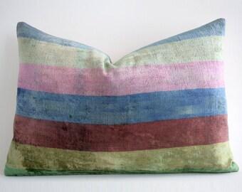 SALE! Handwoven Silk velvet pillow, handwoven pillow, ikat, ikat pillow, velvet throw pillow, pillow cover accent pillow, velvet ikat pillow