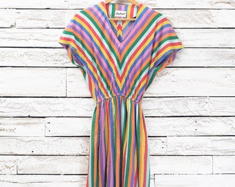 Multicolor striped retro dress | Yves Jennet retro dress | Colorful graphic dress | Summer beach dress | 70's Dress | Geometric Dress