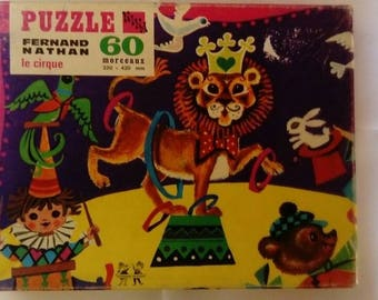 Vintage puzzle child Nathan circus. 60 pieces. With poster and directions.