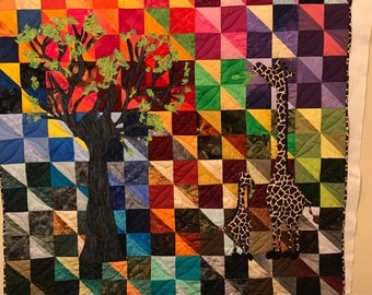 Sunset on the Serengeti/art quilt/rainbow of colors/dreaming of Africa with giraffes