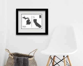 Postcard two state wall art -  two state wall art- personalized two state- housewarming decor- Home decor- new homeowner gift- two state art
