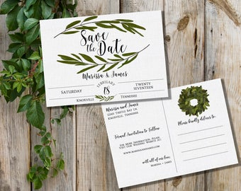 Save the Date Postcard - Magnolia Save the Date - Southern Save the Date - Southern Bride - Postcard Save the Date - Custom - PRINTABLE