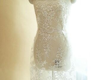Beidal lace fabric tulle bridal lace guipure alencon lace fabric for wedding dress fashion dress fabric french lace fabric