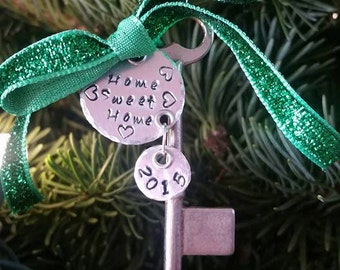 First Christmas in New Home Hand Stamped Ornament