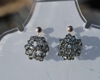 Silver and gray beadwork earrings