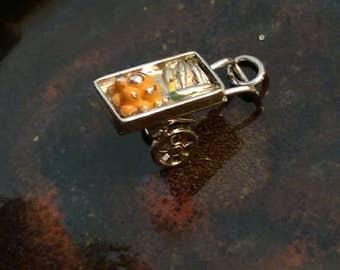 Vintage sterling enamel  fruit peddlers cart charm pendant or keychain charm