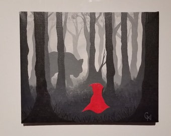 Beware the Wolf (Little Red Riding Hood / Big Bad Wolf / Forest / Acrylic Painting)