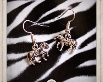 Zebra earrings silver BOA055