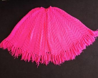 Vintage Handmade Poncho, Pink!