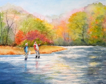 Autumn fishing fall fisherman painting original watercolor 11x15