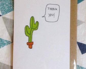 Cactus Thank You Card -  A7 blank card