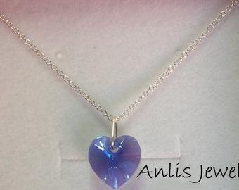925 Silver necklace with heart Swarovski Sapphire-Ocean-