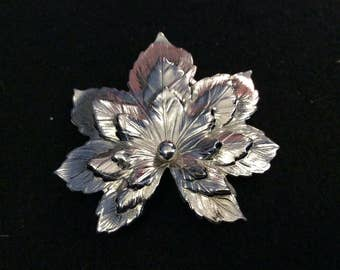 "Sarah Coventry Silver Leaf Brooch, Signed ""SAC"""