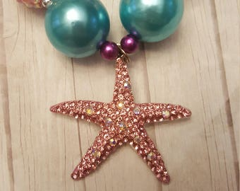 Pink starfish chunky necklace
