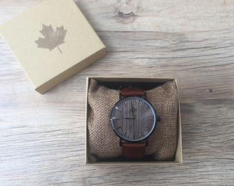 OSCAR series - Dark Mahogany Gents Wooden watches - WoodCraft, Mens Wood watches, Montre bois, Orologi, Brown leather strap, Wrist Watches
