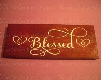 "Rustic Wooden Inspirational Sign ""Blessed"", 6"" long x 2"" wide for weddings, home decor"
