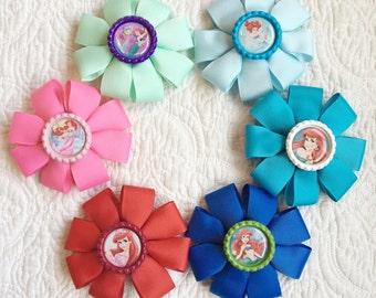 Little mermaid bow/barrette- ariel princess bows - handmade bows