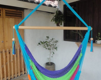 Hanging chair | hammock | 100% cotton | hand made | wood of guacimo