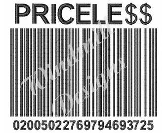 Priceless Barcode - Machine Embroidery Design