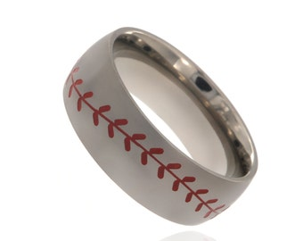 Baseball Ring 8MM-Dome with Red Laces