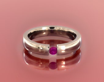 Elegant Pink Ruby Titanium Tension Set Ring for Valentines Day