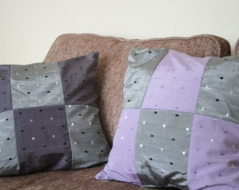 Lavender Slumber - Lilac & Grey, Double-sided cushion covers - Set of 2
