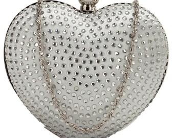 Lovely White Diamante Hardcase Heart Clutch Bag - Bridal Prom BAG29