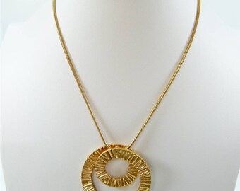 Golden Contemporary Swirl Pendant Necklace