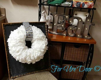 Coffee filter wreath, chalkboard painted backing, every day wreath, wall hanging wreath, modern farmhouse wreath
