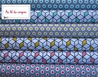 """set of 6 cut quilt 100% cotton fabric 50 x 50 cm """"Diabolo Mint lemon Strawberry"""""""
