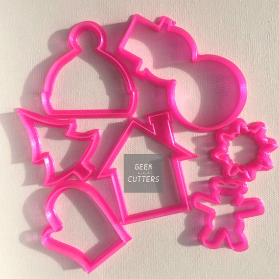 Christmas Simple Collection Set Holiday Cookie Cutter - Fondant, Backing Mold, 3d printed, Cookiecutter