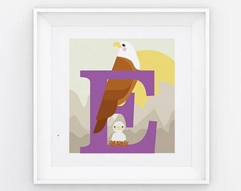 Eagle letter print, animal alphabet print, letter E print, nursery print, gift for baby, gift for animal lover, square eagle print