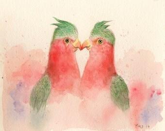 Two Parrots,parrots, bird art,bird prints,bird painting,bird water color print,,valentine gift