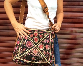 Bohemian Messenger Bag. Weekender Bag. Travel Bag. Ethical. Recycled Leather. Tapestry Bag. Crossbody Bag. Brown Leather Bag. Womens Bag.